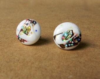 Glass Stud Earrings Japanese Sparkle Glass