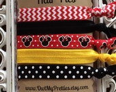 FOE Elastic Hair Ties MINNIE MOUSE Red Black Yellow Chevron Dots Toddlers Girls Women -Set of 5-