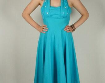 Vintage 50s blue halter neck shelf bust full circle dress