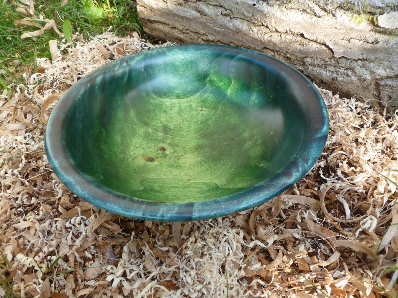 Bol de bois de peuplier teint coloré bleu et vert salade bois ~ Bois De Peuplier
