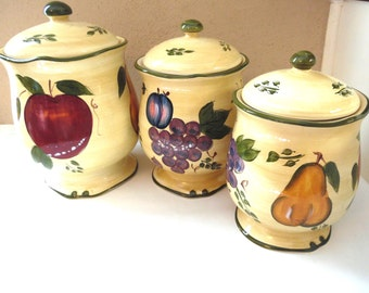 Fruit Pear Grape Tuscan Canister Set Beige Green 3 pc set