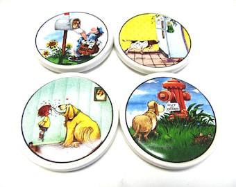 Funny Dog Coasters Humor Decor Ceramic Set of 4 Gary Patterson
