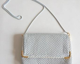 Vintage 1970s Enamel Mesh Handbag Summer White