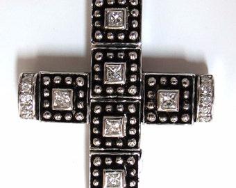 1.00CT Natural Diamonds Gothic Cross Pendant 1.86 INCH