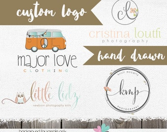 Custom Logo Design -  Custom Logos  - Hand drawn Logo Design for Photographer or Shop -custom logo branding package - complete logo package
