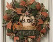 Fall Pumpkin Wreath, Fall Chevron Ribbon Wreath, Welcome Wreath