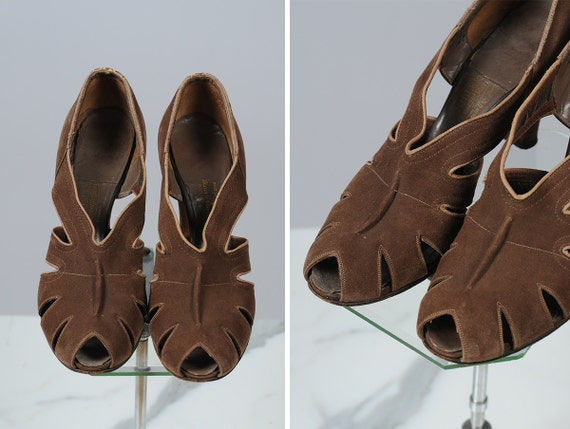 1930s shoes/ 30s suede peep toes/ size 6-7