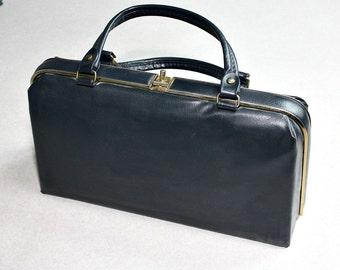 Vintage Handbag / Purse - Dark Blue Man Made Material - 50's - Retro Accessory - estate sale find