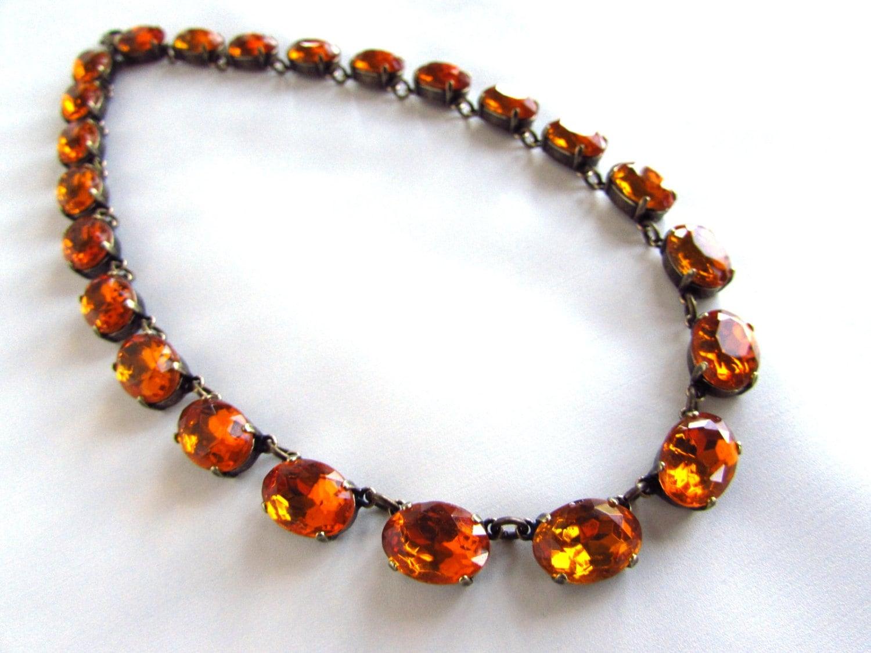 orange necklace georgian paste collet necklace topaz