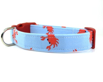 Crabs in Blue Adjustable Dog Collar - Made to Order / Summer Dog Collar / Blue Dog Collar / Crab Dog Collar