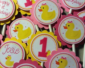 Rubber Ducky Girl Cupcake Toppers