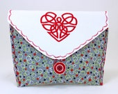 Bicycle Handlebar Bag with a Red Heart Embroidery
