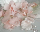 Pink and Blush Table Scatter | Rose Petals and Faux Diamond Confetti | DIY Wedding | Light Pink Artificial Petals & Blush Diamond Confetti