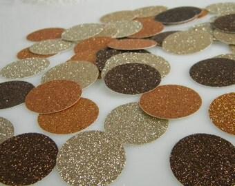 Confetti / Fall Wedding Table Decoration / Glitter Confetti / Autumn Colors / Invitation Stuffers / Table Scatter /  Circle Confetti