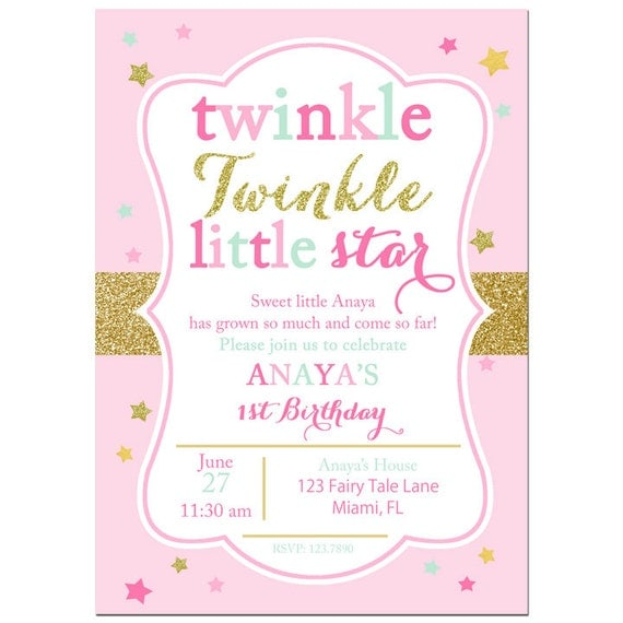 Twinkle Twinkle Little Star Invitation Printable or Printed