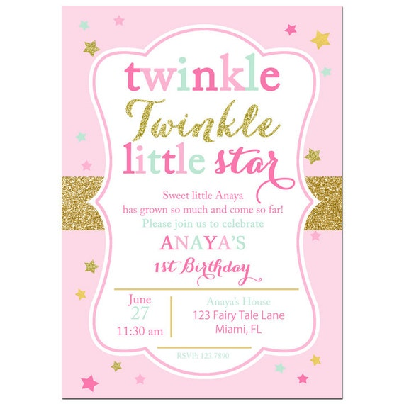 Twinkle Twinkle Little Star Invitation Printable or Printed with FREE SHIPPING - Pink and Gold ...