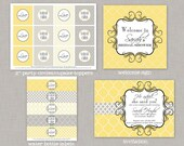 Bridal Shower Decorations, Bridal Shower, Love, Yellow, Gray, Printable
