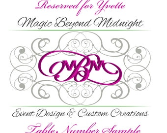 Reserved for Yvette - Table Number Sample