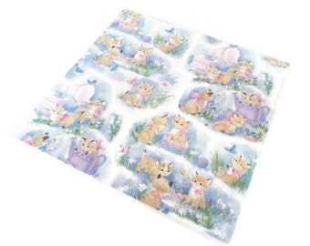 Vintage Gift Wrap - Kitty Love - Full sheet Wrapping Paper - Laurel