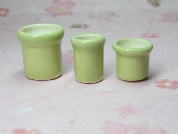 Celery Dollhouse Miniature vase / utility crock / plant pots set of 3 pcs Supplies 1:12 scale one inch