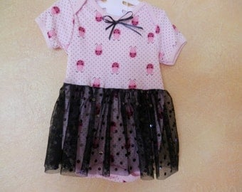 Pink and Black Infant Dress
