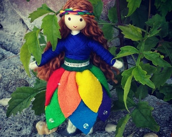 Fairy Doll - Rainbow Flower Doll - Bendy Doll - Princess Doll - Rainbow doll -