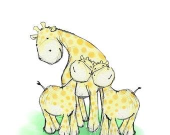Nursery Wall Art, Giraffe Love Twins - 8x10 Print