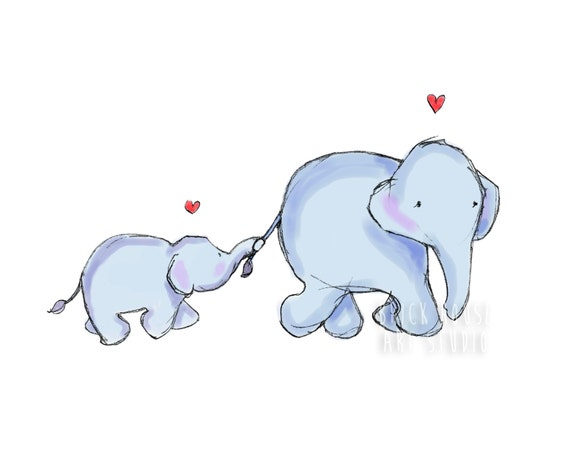 Nursery Art - Mama Elephant and Baby, 5x7 Print
