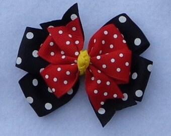 Minnie Mouse Hair Bow~SMALL Pinwheel Bow~Red and Black Minnie Mouse Hairbow~Minnie Mouse Boutique Hair Bow~Disney Hair Bow~Pigtail Bows