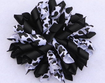 Cow Print Hair Bow, Korker Hair Bow, Cow Print Korker Bow, 4-H Hair Bows, Birthday Hair Bow, Black Korker Bow, Cow Boutique Bow, Cow Hairbow