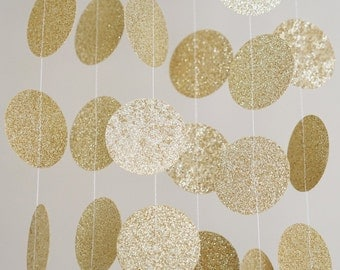 Gold Glitter Paper Circle Garland, Photo Prop, Party Decoration, Event Decor