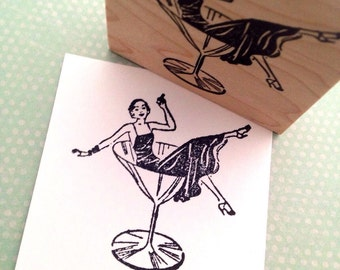 Party Lady in a Martini Glass Rubber Stamp Handmade by 100 Proof Press