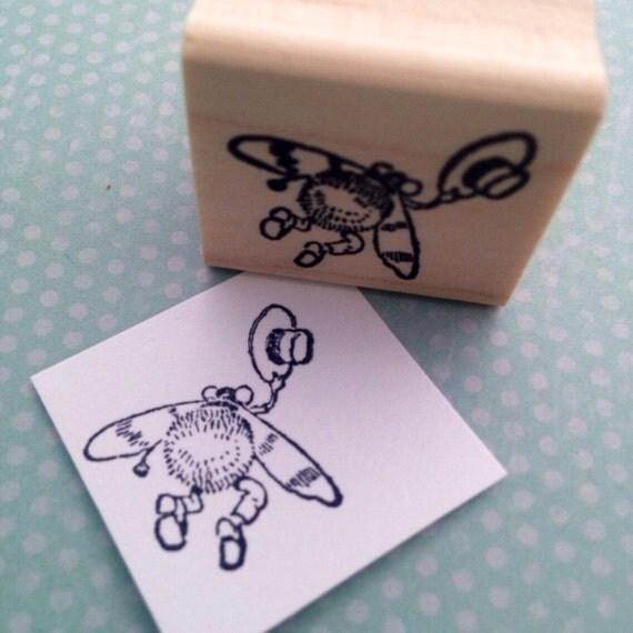 Cute Bug Waving Goodbye Wood Mounted Rubber Stamp 2888