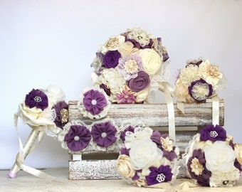 Wedding bouquet set , matching men buttonholes, bridal bouquet, bridesmaids bouquets, purple bouquet DEPOSIT
