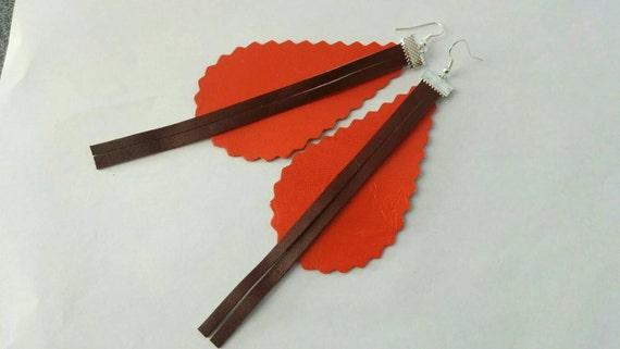 Leather earrings, brown earrings, orange earrings, leather jewelry,leather dangle,dangle earrings, orange dangle,drop earrings, dangle brown