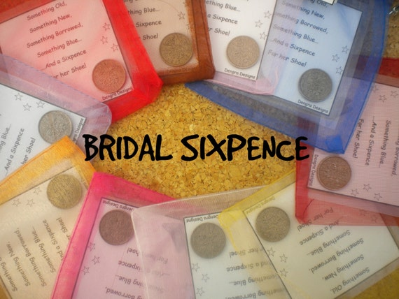 RED Organza Bridal SIXPENCE Something Old Something New Something Borrowed Something Blue and a Sixpence For Her Shoe