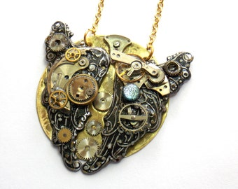 "Steampunk Necklace ""The Wings of the Future"""