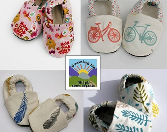 Sale - Any FOUR Pairs of Organic or Original Baby Shoes from my shop- Size 0 3 6 9 12 18 months Childrens Clothing Eco Friendly