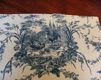 "Toile Table runner-Blue&Cream-53"" X 16"" Waverly- Rooster Print"