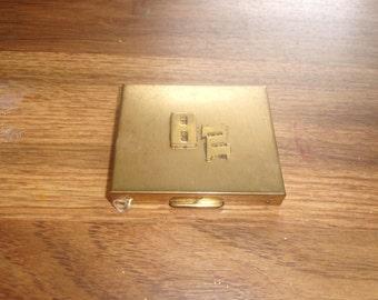 vintage brass ladies purse compact mirror