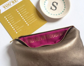 Anniversary Gift for Her // Leather Makeup Bag with Hidden Love Message