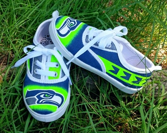 SEATTLE SEAHAWKS Toddler Shoes - Hand Painted