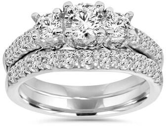 Diamond Engagement Ring, 3 Stone Diamond Ring, 1.60CT 3-Stone Engagement Ring Matching Wedding Band Bridal Set 14 Karat White Gold Size 4-9