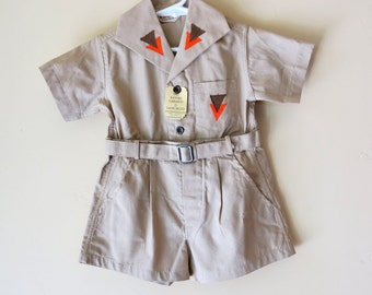 1930 Baby Boys Kaki Camp Suit Size 2 Kaynee Oliver Twist Original Tags 559a
