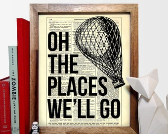 Oh The Places We'll Go Hot Air Balloon Typography, Home, Nursery Decor, Wedding Gift, Eco Book Art, Vintage Dictionary Print 8 x 10 in.