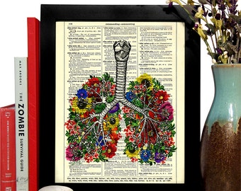 Lungs With Flowers Anatomical Home, Kitchen, Nursery, Office Decor, Wedding Gift, Eco Friendly Book Art, Vintage Dictionary Print 8 x 10 in.