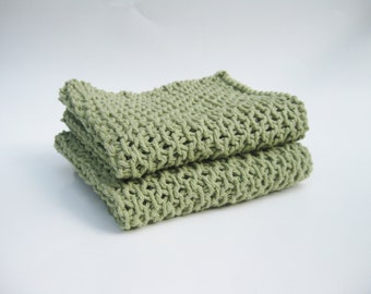 Knit Cotton Dishcloths - Country Green, Eco-friendly