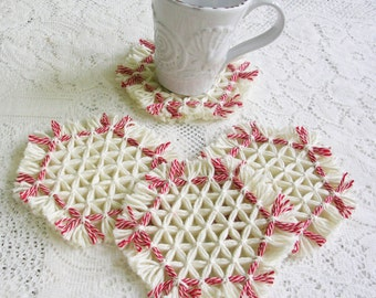 Drink Coasters - Red White Loom Woven Yarn Coaster Set - Patio Nautical Decor - Modern Minimalist Decor - Fringe Hexagon Coasters