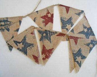 Banner 4th of July Patriotic Burlap Bunting |  Red and Blue Stars 4th of July Bunting  | Burlap Americana Garland READY TO SHIP Labor Day