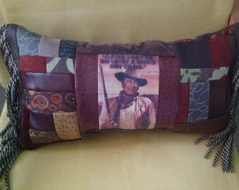 John Wayne Western Pillow- Patchwork - Earthtone Quilted Pillow